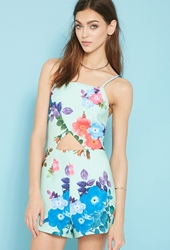 Forever 21 Paint It Red Floral Print Romper Blue Multi