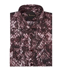 Billionaire Slim Fit Snake Print Shirt Male Burgundy