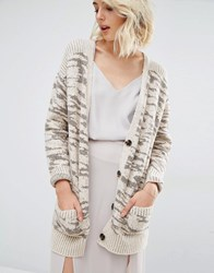 Gat Rimon Aria Pink And Silver Zebra Print Cardigan Grey