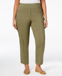Alfred Dunner Plus Size Cactus Ranch Collection Pull On Pants Dark Green