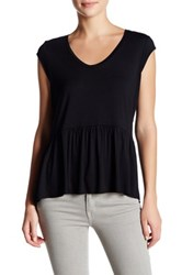 14Th And Union Solid Peplum Tee Black
