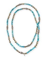 Hipchik Eleanor Long Turquoise And Pyrite Necklace
