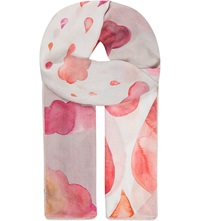 Aspinal Of London Raindrops And Cloud Print Scarf Pink