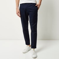 River Island Mens Navy Cropped Skinny Trousers