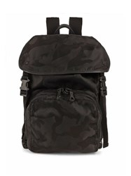 Valentino Camouflage Print Nylon Backpack Black
