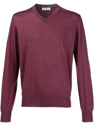 Brunello Cucinelli V Neck Sweater Red