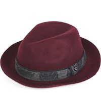Ted Baker Trigg Contrast Wool Fedora Hat Dark Red