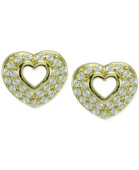 Giani Bernini Cubic Zirconia Pave Open Heart Stud Earrings In 18K Gold Plated Sterling Silver Only At Macy's