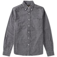 Beams Plus Button Down Flannel Shirt Grey