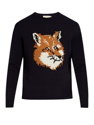 Maison Kitsune Fox Intarsia Crew Neck Wool Sweater Navy