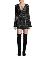 Free People Back To Black Lace Bell Sleeve Mini Dress