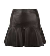 Harrods Of London Leather Fit And Flare Skirt Female Black