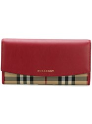 Burberry House Check Horizontal Wallet Red