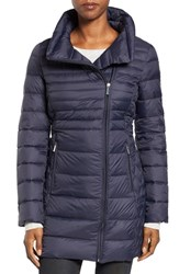 Michael Michael Kors Women's Asymmetrical Quilted Down Coat Navy