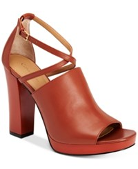 Calvin Klein Women's Baida Strappy Platform Sandals Women's Shoes Brandy