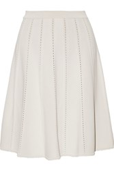 Elie Saab Pointelle Trimmed Jersey Mini Skirt Off White