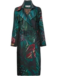 Issey Miyake Jungle Print Trench Coat Green
