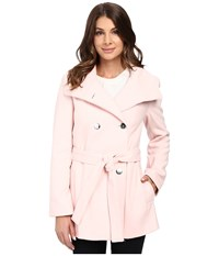 Calvin Klein Double Breasted Belted Stand Collar Faux Wool Pink Women's Coat