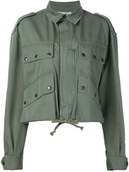 Faith Connexion Cropped Military Jacket Green