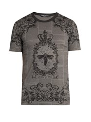 Dolce And Gabbana Crest Print Crew Neck Cotton T Shirt Grey Multi