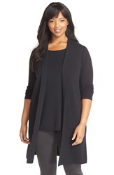 Eileen Fisher Wool Long Kimono Cardigan Plus Size Black