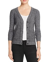 Aqua Cashmere V Neck Cashmere Cardigan Black White Twist