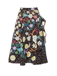 Peter Pilotto Japanese Floral Print Cloque Midi Skirt Black Multi