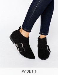 Asos Anglify Wide Fit Pointed Ankle Boots Black