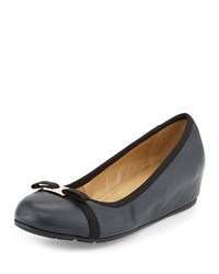 Neiman Marcus Adelia Leather Hidden Wedge Pump Navy Black