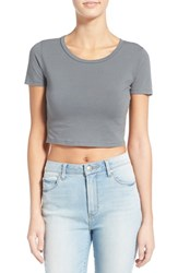 Junior Women's Bp. Stretch Cotton Crop Tee Grey Sedona