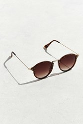 Urban Outfitters Uo Metal Arm Round Sunglasses Brown
