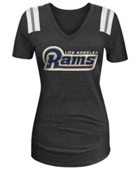 5Th And Ocean Women's Los Angeles Rams Glitter Shoulder T Shirt Navy