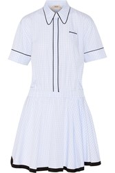 N 21 Gingham Cotton Mini Dress Blue