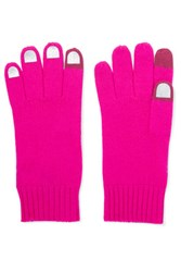 Marc By Marc Jacobs Wild Thing Foiled Merino Wool Gloves Fuchsia