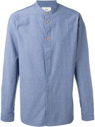 Folk 'Grandpa' Textured Mandarin Collar Button Down Shirt Blue