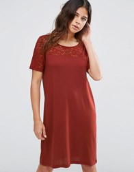 Jdy Kimmie Short Sleeve Lace Dress In Henna Red