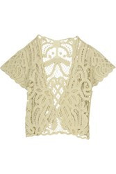 Anna Sui Crocheted Cotton Cardigan Cream
