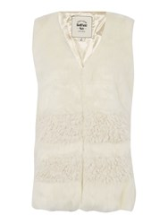 Bellfield Faux Fur Gilet With Contrast Panel Cream