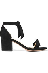 Alexandre Birman Clarita Bow Embellished Suede Sandals Black