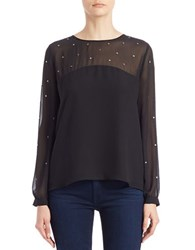 French Connection Studded Chiffon Blouse Black