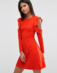 Asos Skater Dress With Cold Shoulder Frill Sleeve Detail Bright Red