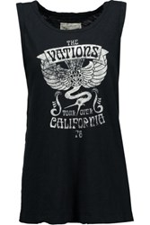 Current Elliott The Muscle Printed Burnout Cotton Tank Black