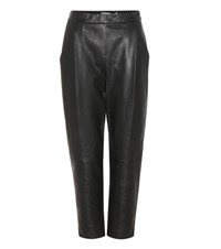 Vince Cropped Leather Trousers Black