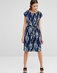 Trollied Dolly Elastic Fantastic Cactus Print Dress Blue