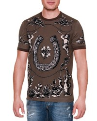 Dolce And Gabbana Horseshoe Floral Graphic T Shirt Brown Black