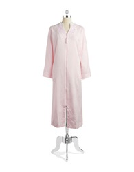 Miss Elaine Floral Patterned Zip Front Robe Pink