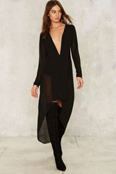 Long Story Short Plunging Dress Black