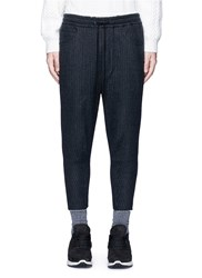Song For The Mute Pinstripe Cotton Wool Cropped Track Pants Grey