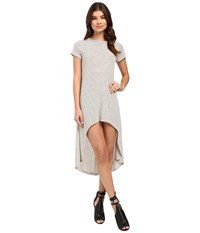 Culture Phit Fia Striped High Low Dress Ivory Black Women's Dress Multi