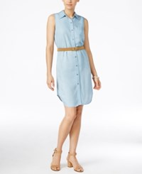 Styleandco. Style And Co. Sleeveless Denim Shirtdress Only At Macy's Ice Wash